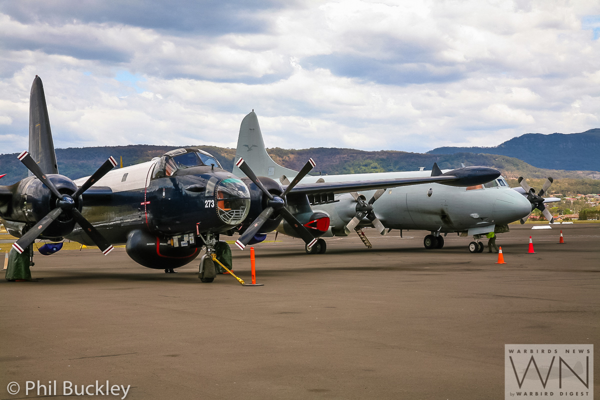 HARS airworth Lockheed Neptune A89-273 parked next to the visiting, active duty RAAF AP-3C Orion A9-659. (photo by Phil Buckley)