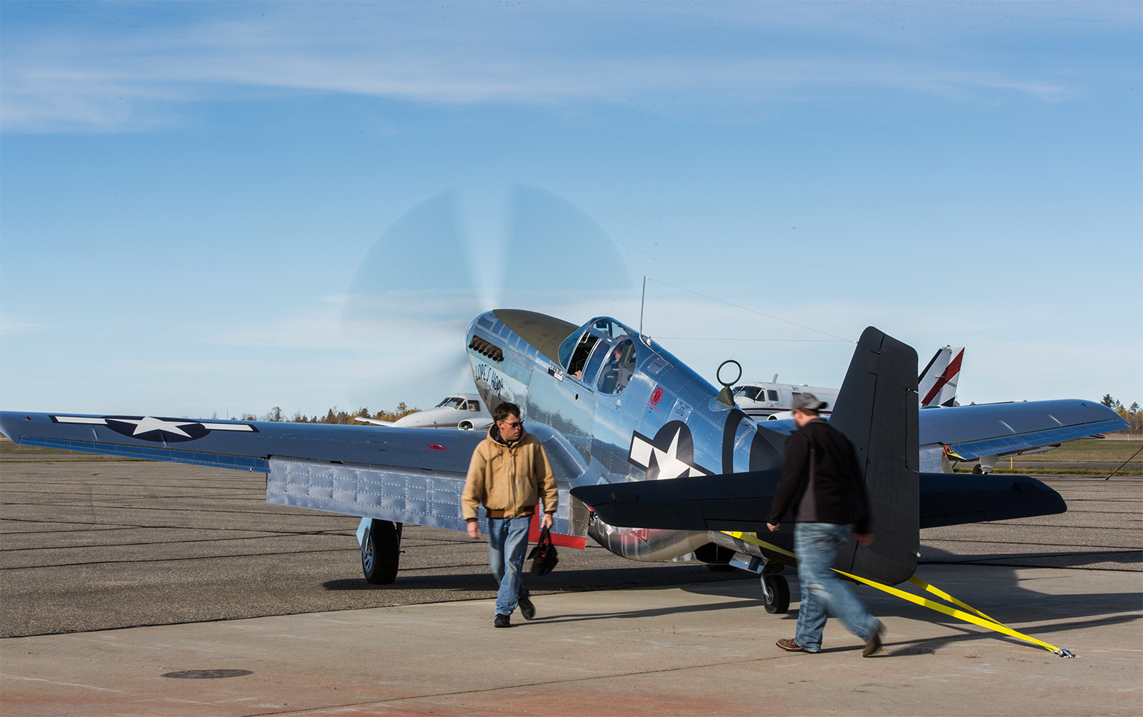 The P-51C is strapped down for a full power engine run. (photo by John LaTourelle via AirCorps Aviation)