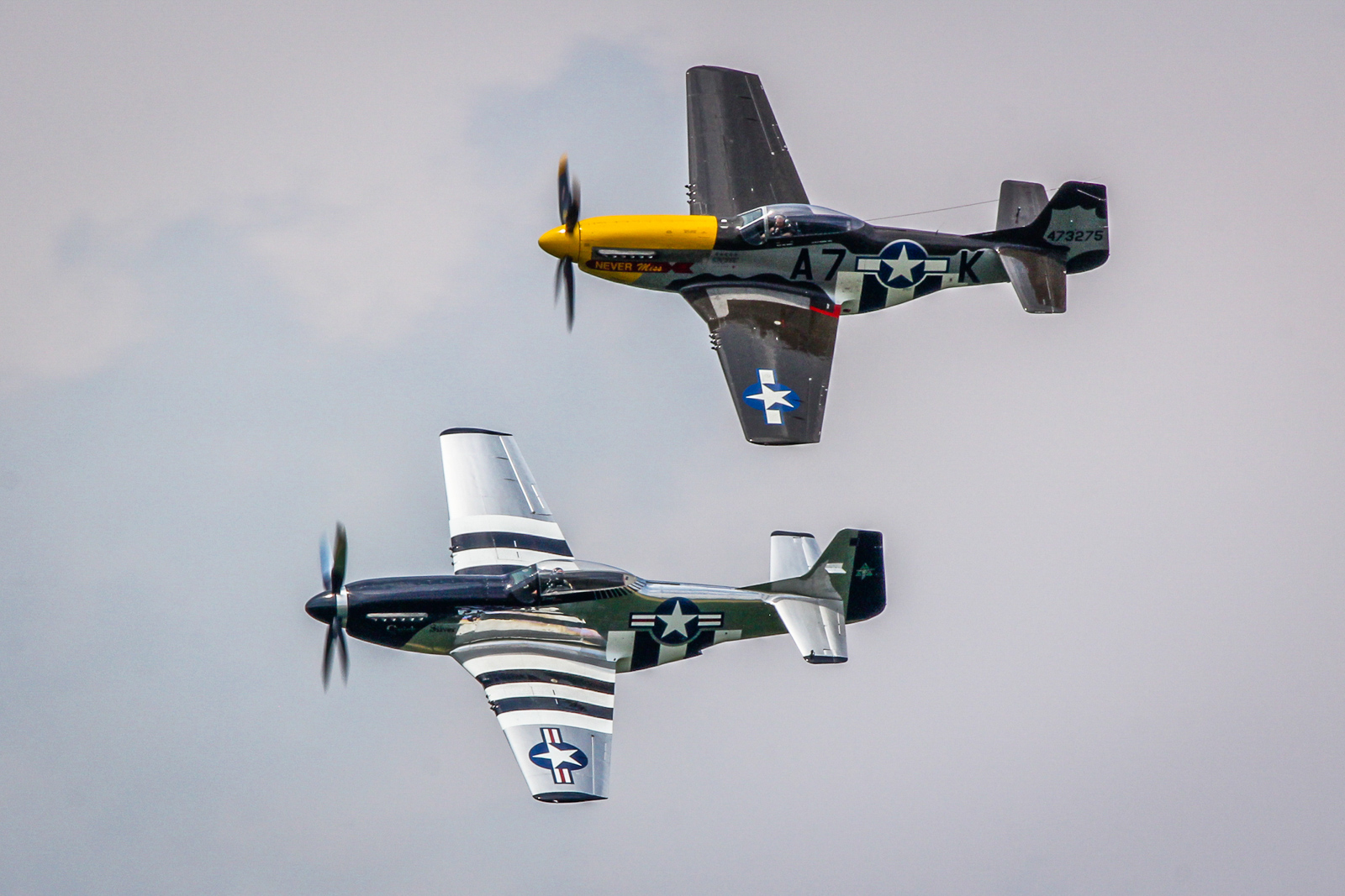 Two of the P-51D Mustangs in attendance included Mark Murphy in 'Never Miss' and Scott Yoak in 'Quick Silver'. (photo by Tom Pawlesh)