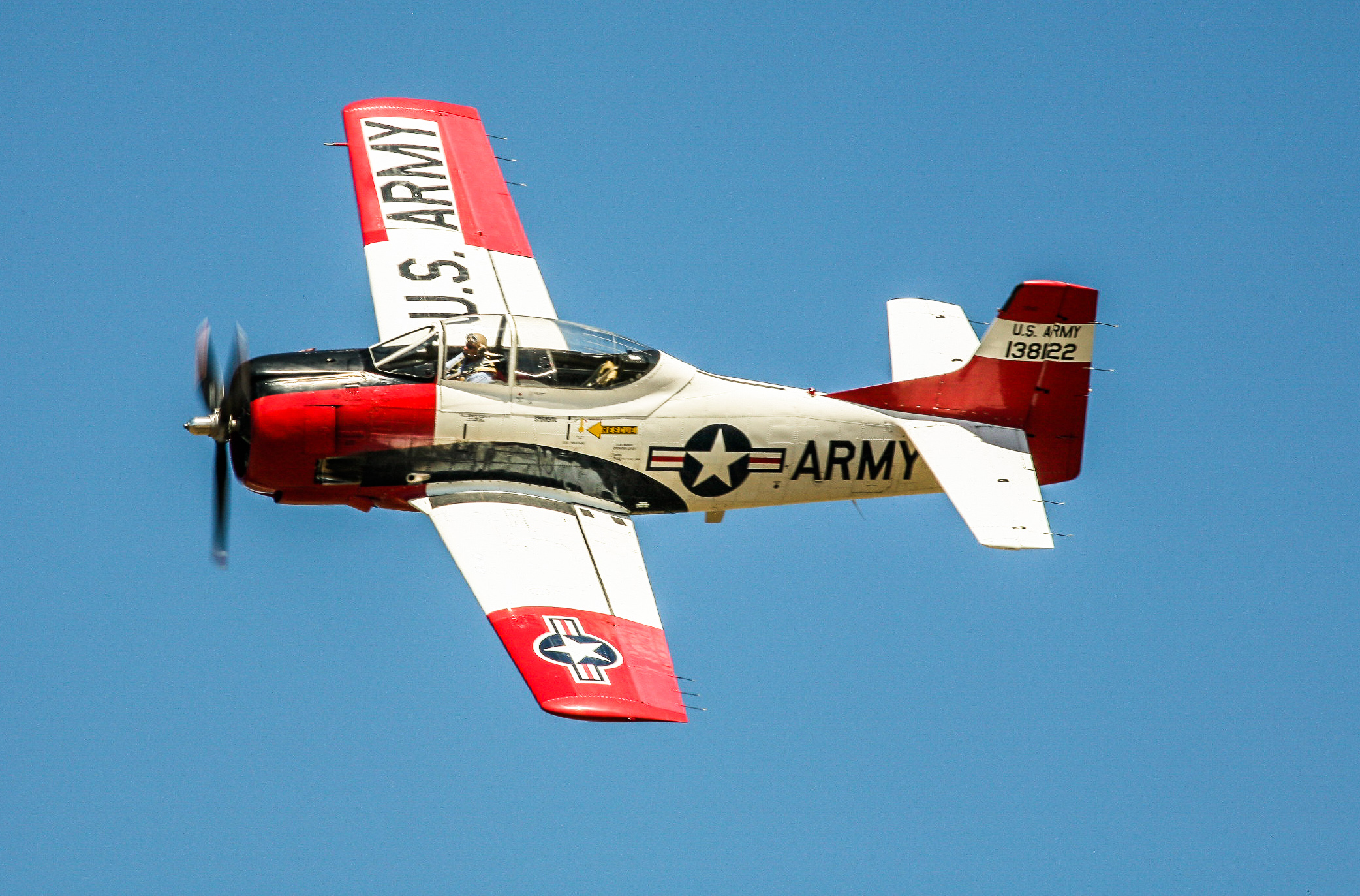 Cameron Rolf Smith in his T-28. (photo by Phil Buckley)