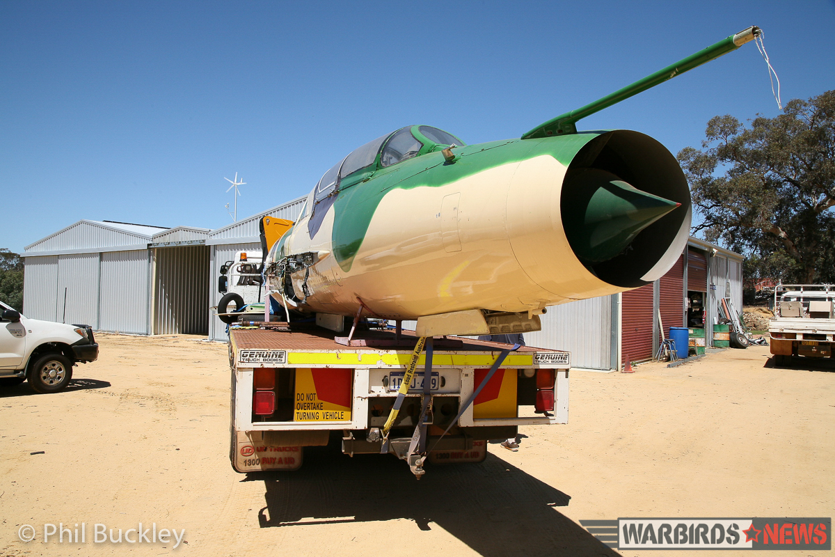 Adrian Deeth's MiG-21 on the back of a low-loader. (image by Phil Buckley)