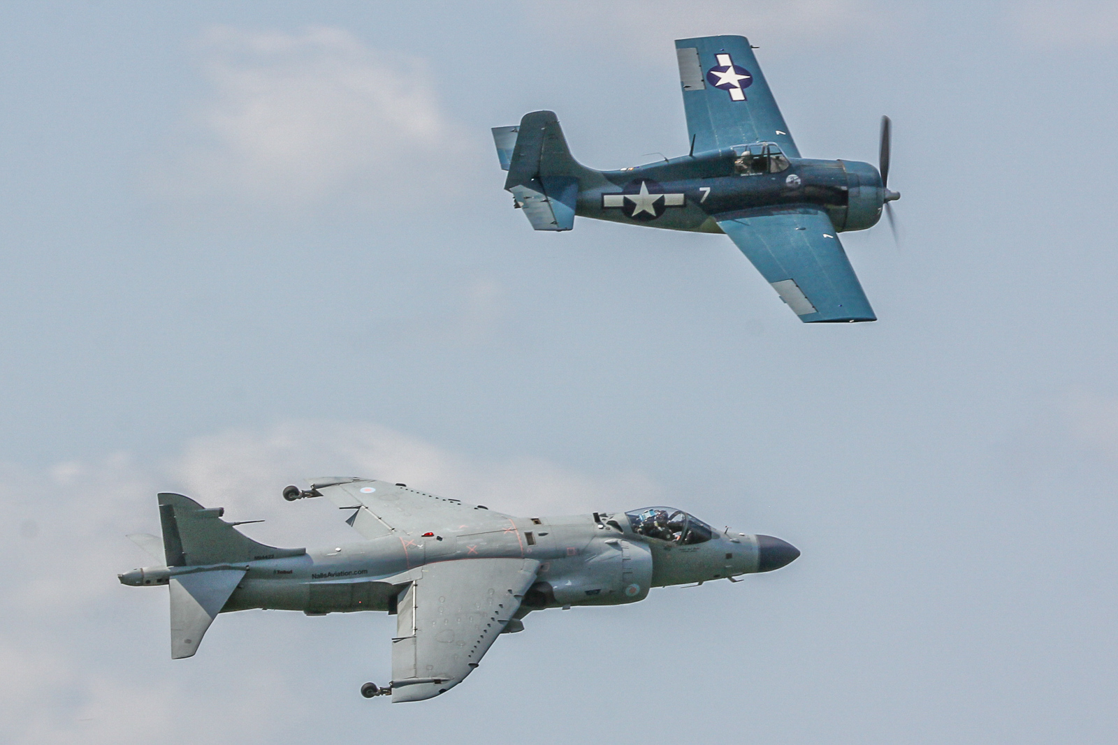 Marine Heritage Flight with Art Nalls in the Sea Harrier and Greg Shelton in the Wildcat. (photo by Tom Pawlesh)