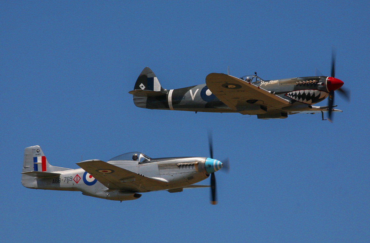 The P-51D Mustang and Spitfire Mk.VIII. (photo by Phil Buckley)