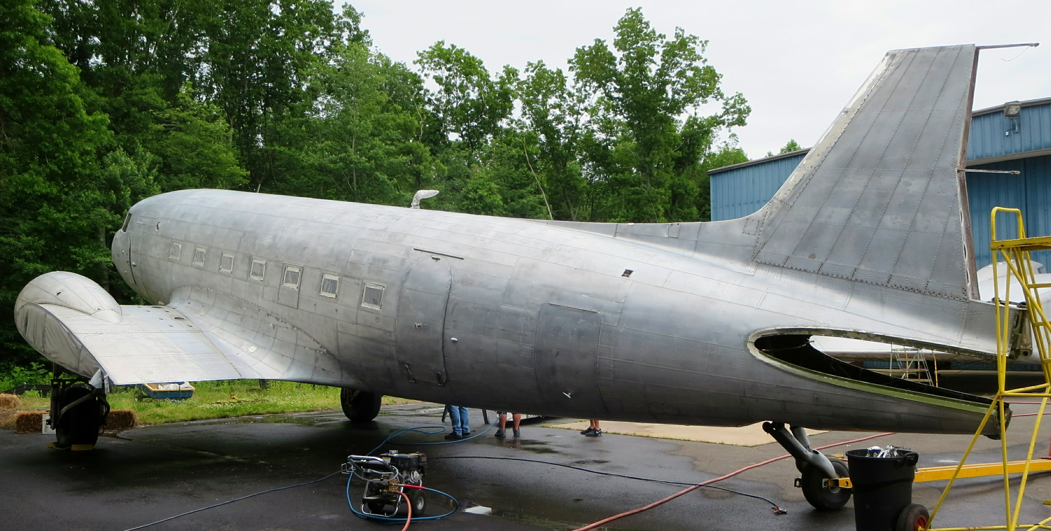 The DC-3 following paint stripping in 2014. (photo via NEAM)