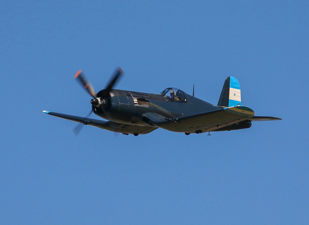 Graham Hosking's F4U-5 Corsair during its solo flyby. (photo by Phil Buckley)