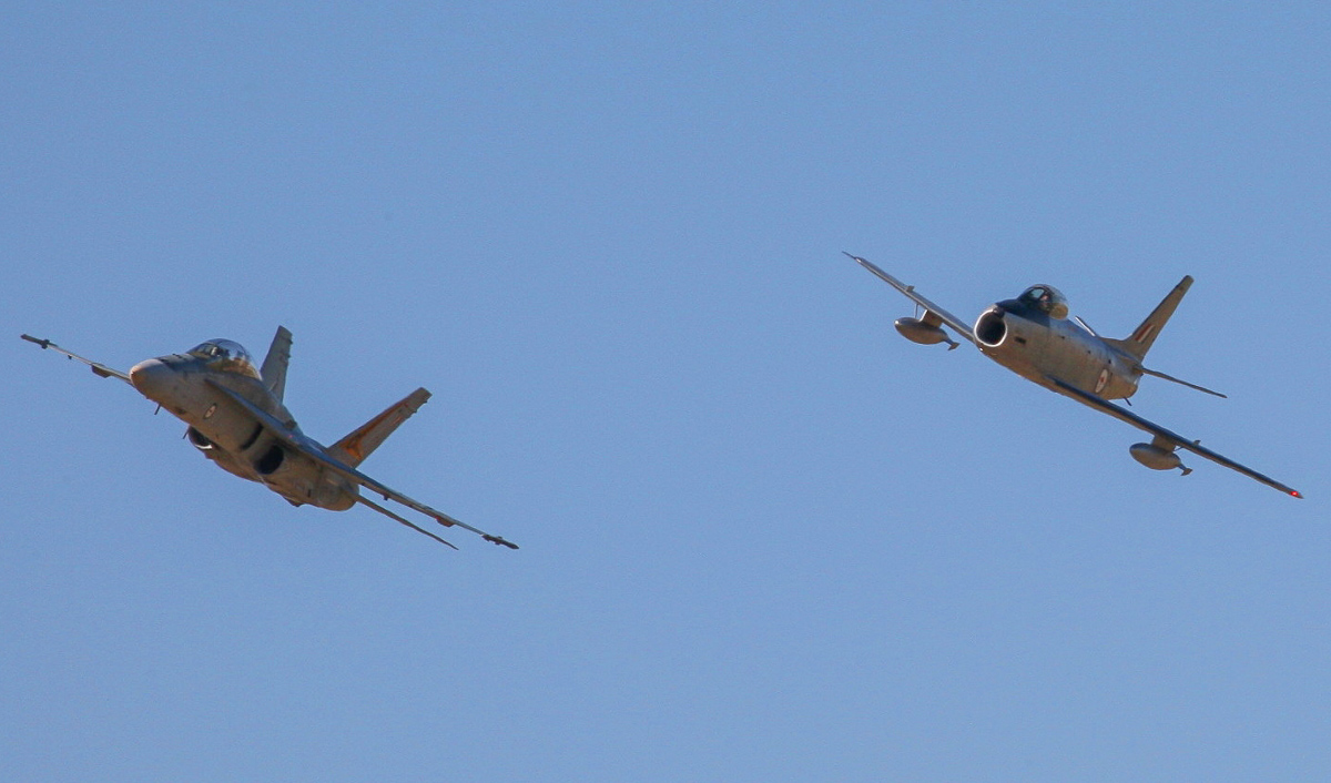 The 'Avon Sabre' in formation with a current-duty RAAF F/A-18B Hornet. (photo by Phil Buckley)