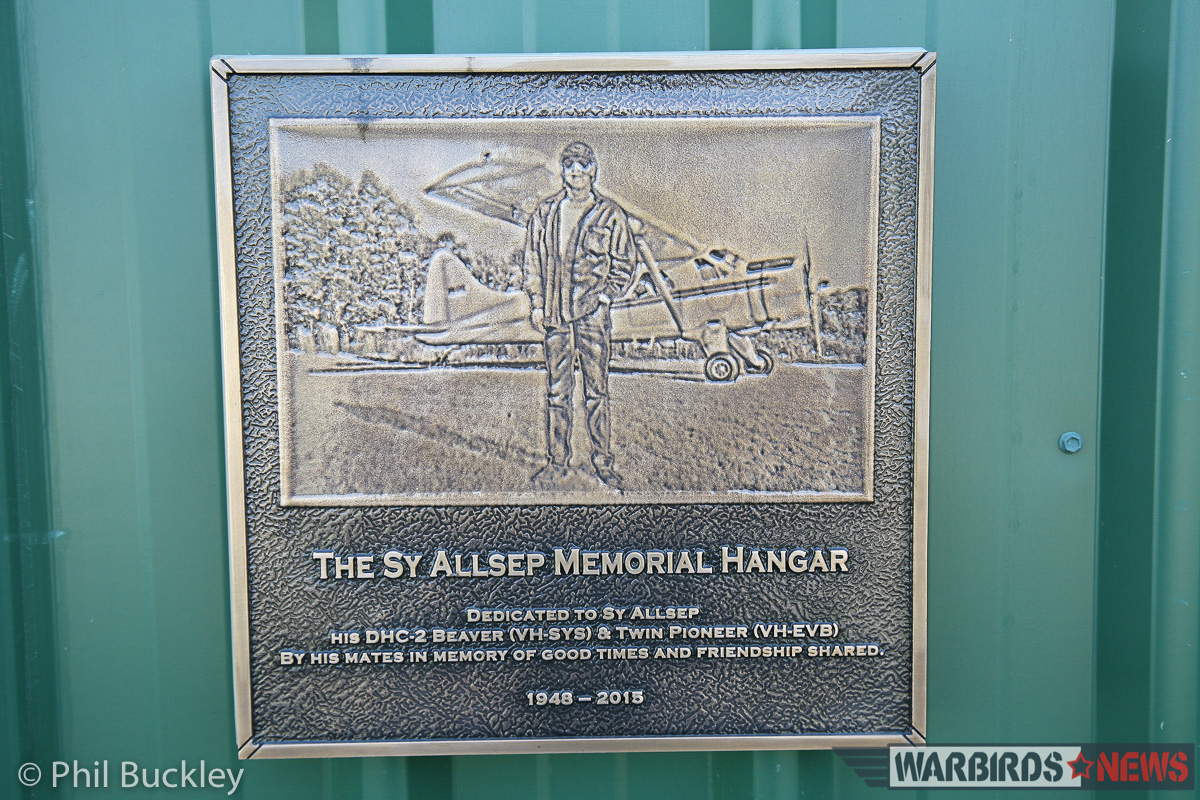 The memorial plaque to Sy Allsep whose dedication and love for Twin Pioneers ensured that VH-EVB and VH-EVC survive to this day. (photo by Phil Buckley)