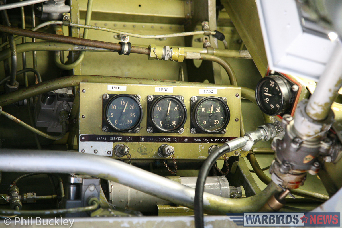 Brake line gauges inside the engine nacelle. (photo by Phil Buckley)