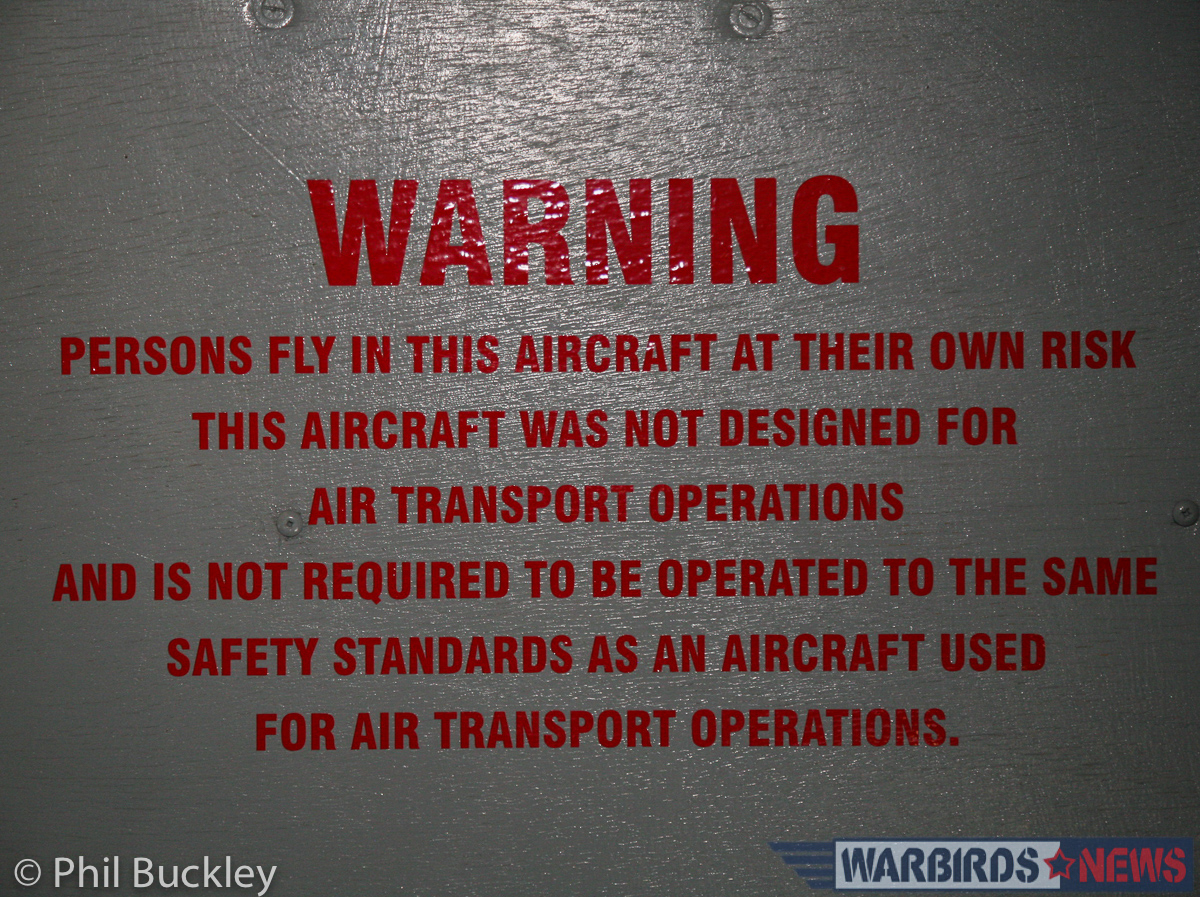 The passenger warning label. (photo by Phil Buckley)