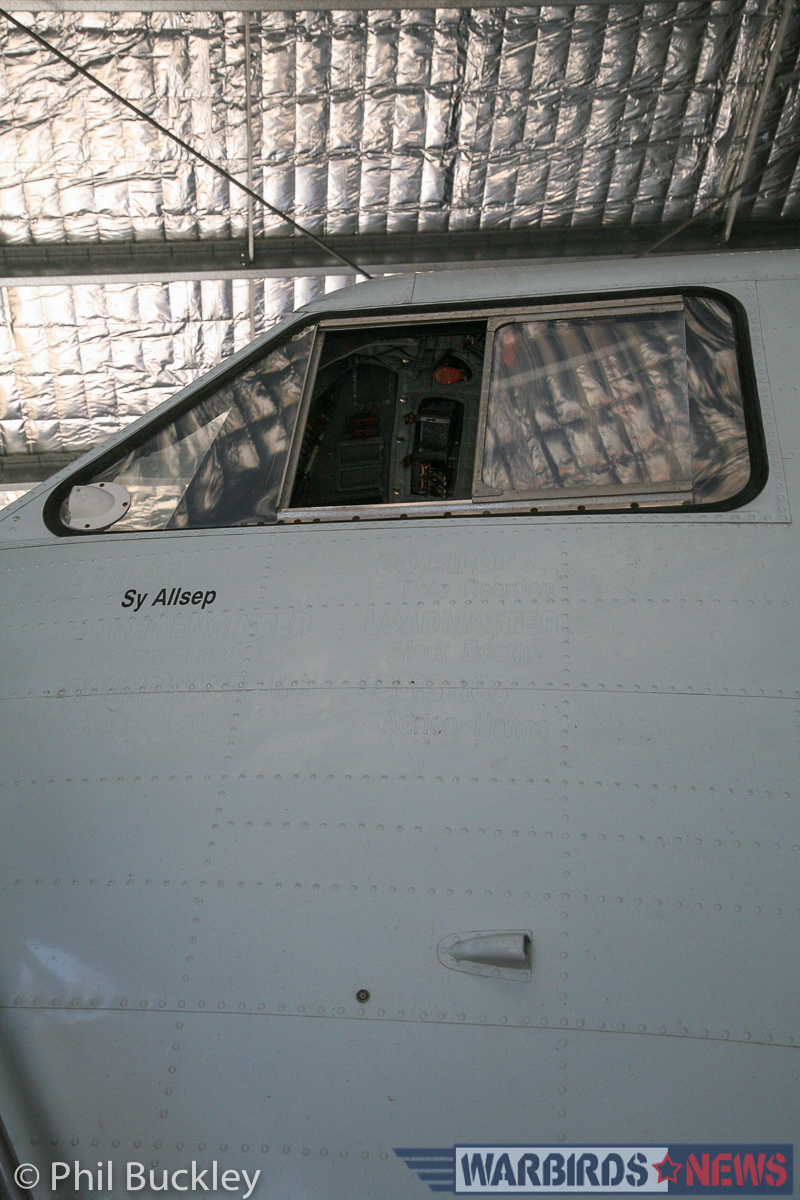 Sy Allsep's name is the only stenciling left on the cockpit skin. (photo by Phil Buckley)