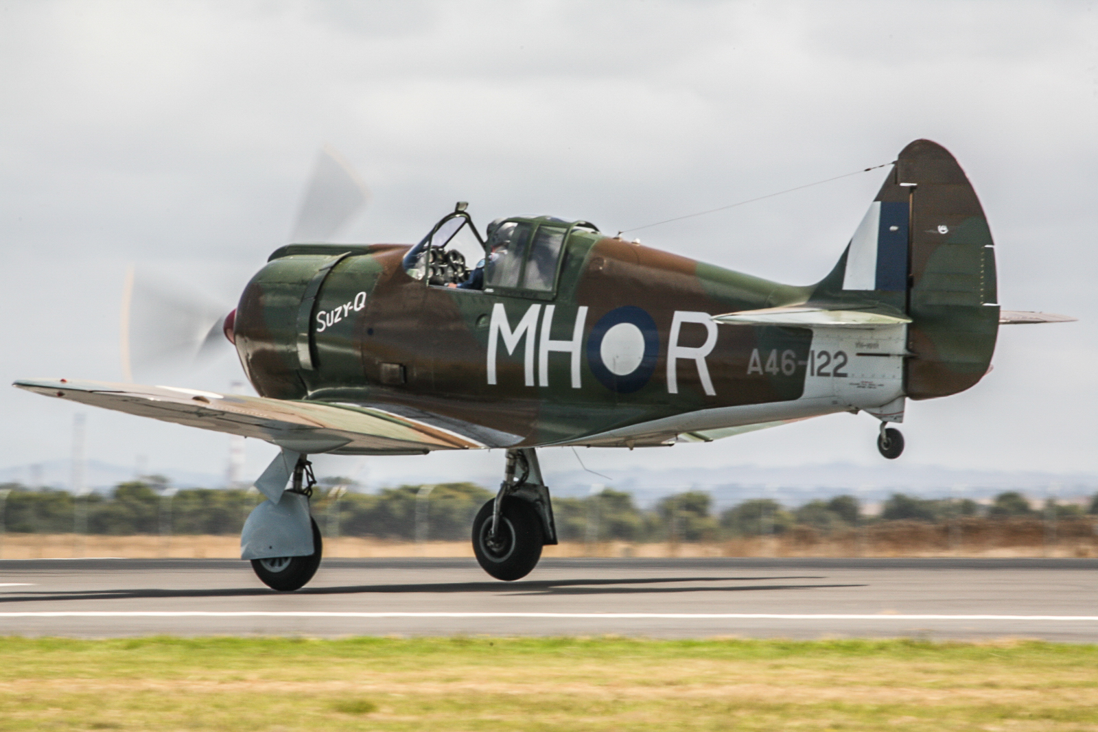 The Temora Aviation Museum's magnificent Boomerang A46-122, restored by Matt Denning, taking off for a flight in recent years. (photo by Phil Buckley)