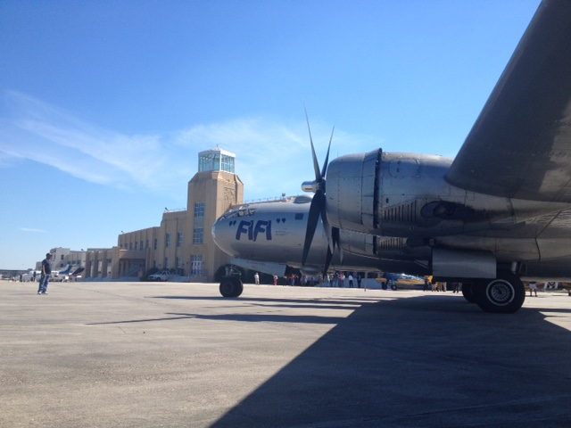 FIFI on the ramp in front of the Lakefront Airport terminal building for the VIP event. ( Photo by Stephen Schapiro. )