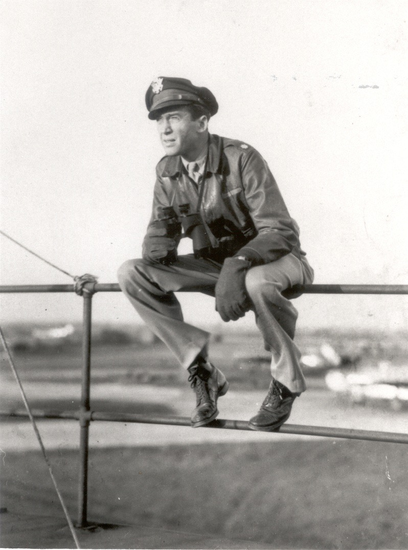 Lt Col Jimmy Stewart (B-24 pilot) on the tower at RAF Old Buckenham. We recently received permission from the Stewart family to name our new Control Tower after General James M. Stewart.