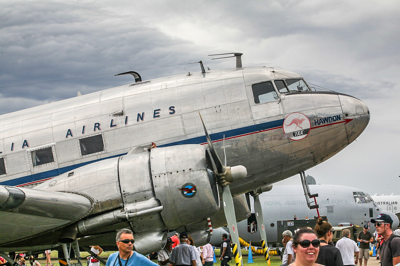 One of two civilian-schemed DC-3s at Avalon. (photo by Phil Buckley)