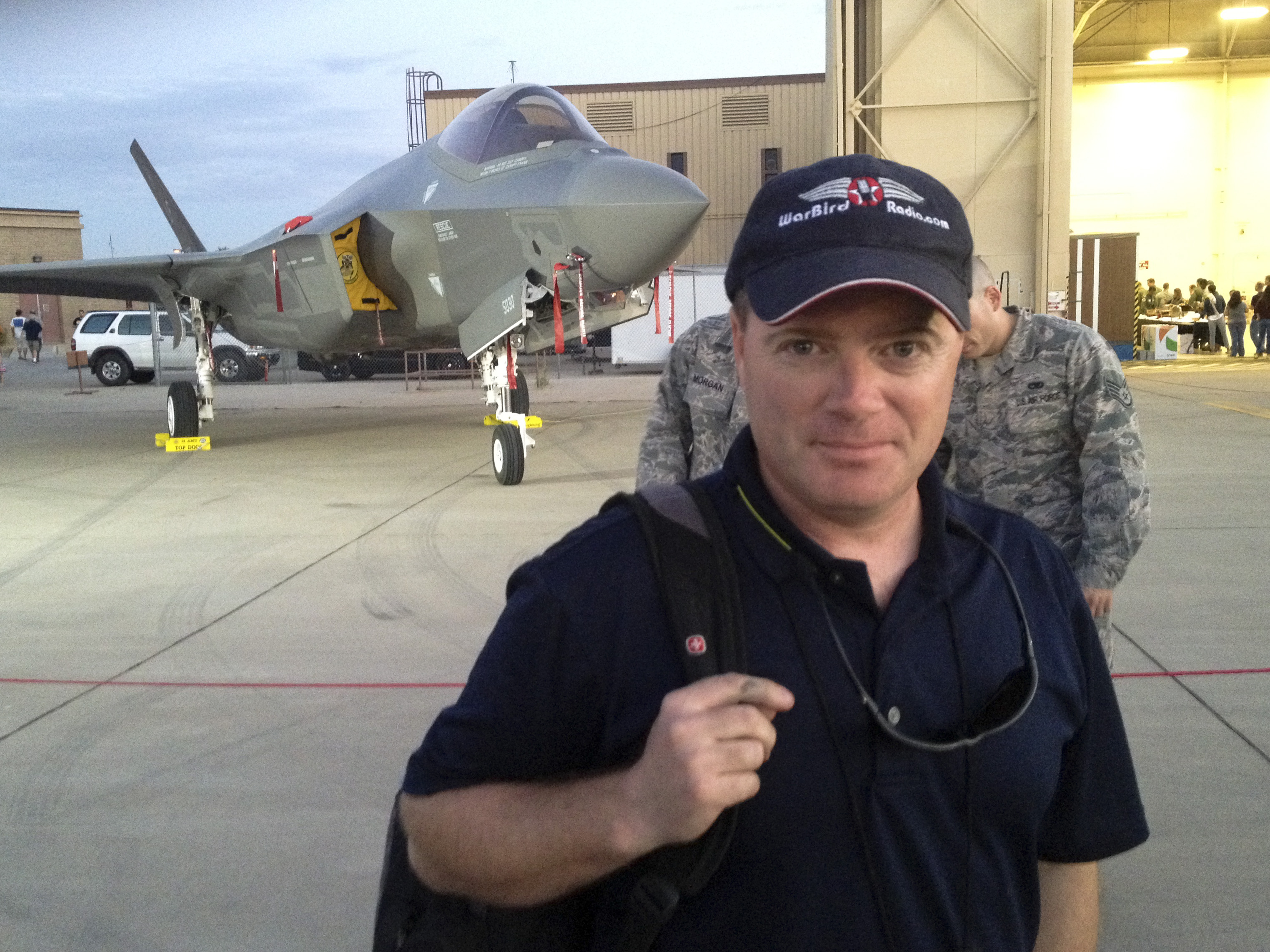 Matt Jolley at the Luke AFB air show in March, 2014 with the F-35A behind him. (photo via Matt Jolley)