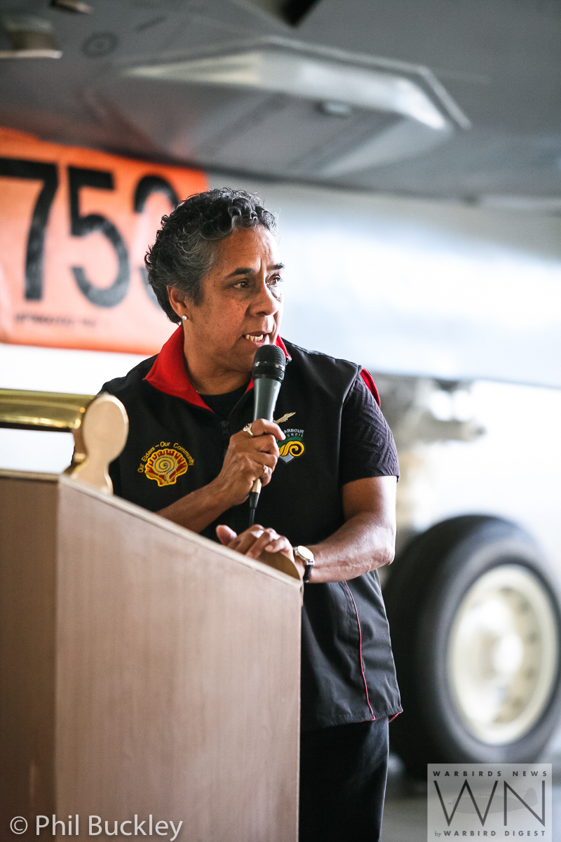 Local aboriginal spokesperson Aunty Lindy spoke during the handover. (photo by Phil Buckley)