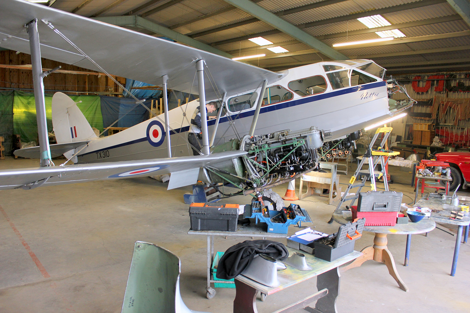 Classic Wings latest Dragon Rapide undergoing maintenance. (photo by Geoff Jones)