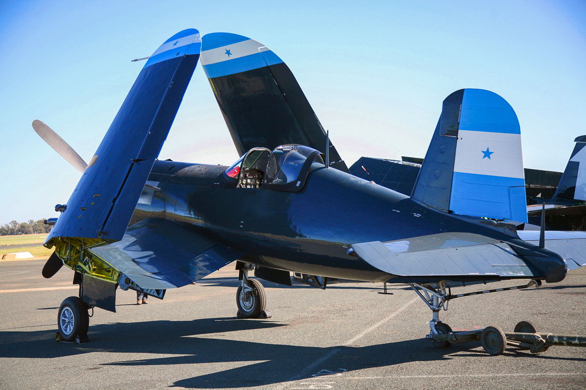 Graham Hosking's F4U-5 Corsair in its original Honduran markings at its debut Warbirds Downunder event. (photo by Phil Buckley)