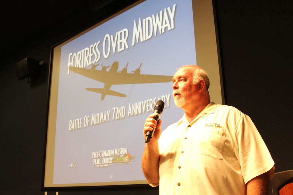 Pacific Aviation Museum curator Burl Burlingame during his presentation.