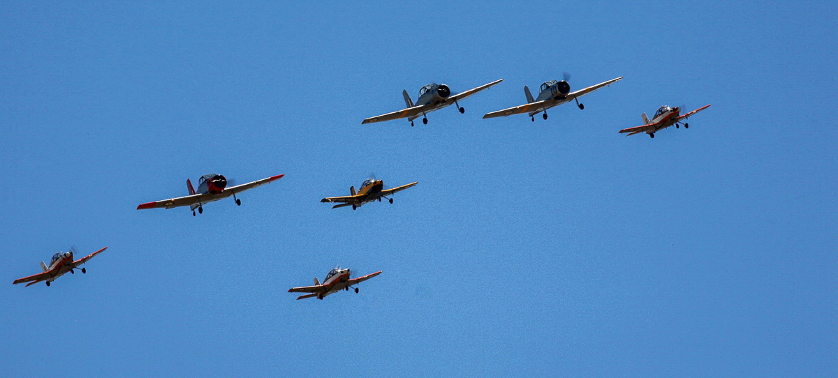 A formation of CT-4 Airtrainers and CAC Winjeels. (photo by Phil Buckley)