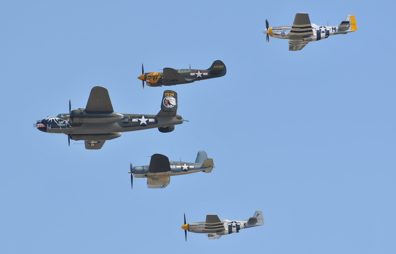 The Texas Flying Legends formation flight was one of the highlights of the show. ( Image credit Luigino Caliaro)