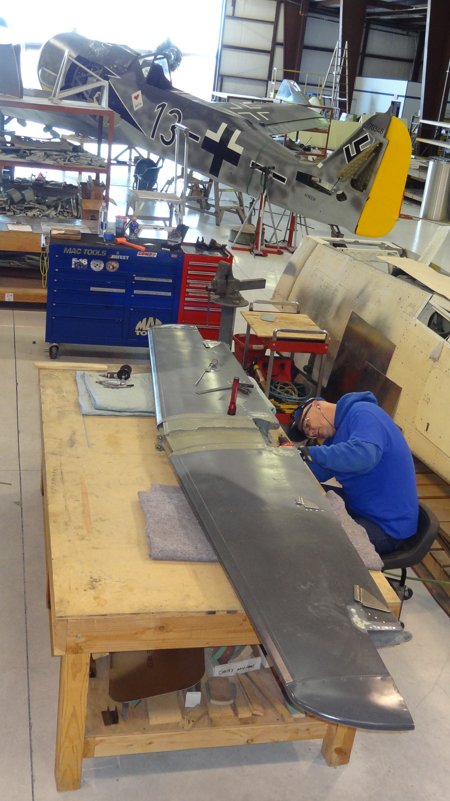 Installing doublers on the horizontal stabilizer. (photo via GossHawk Unlimited)