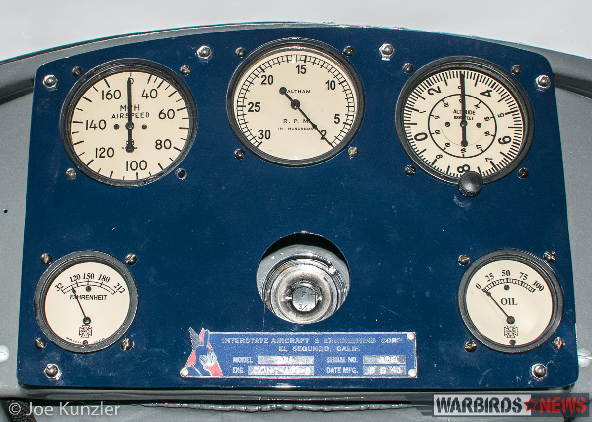 Interstate Cadet cockpit gauges. (photo by Joe Kunzler)