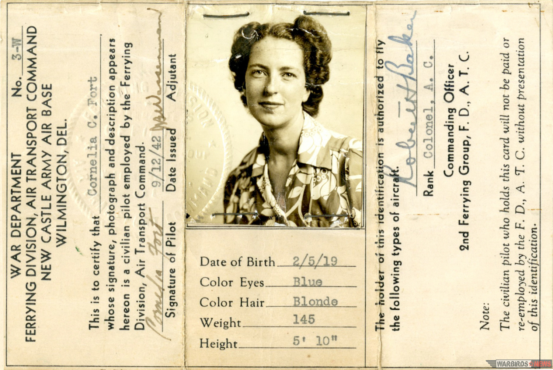 Cornelia Fort's flying license. (photo via Lyle Jansma)