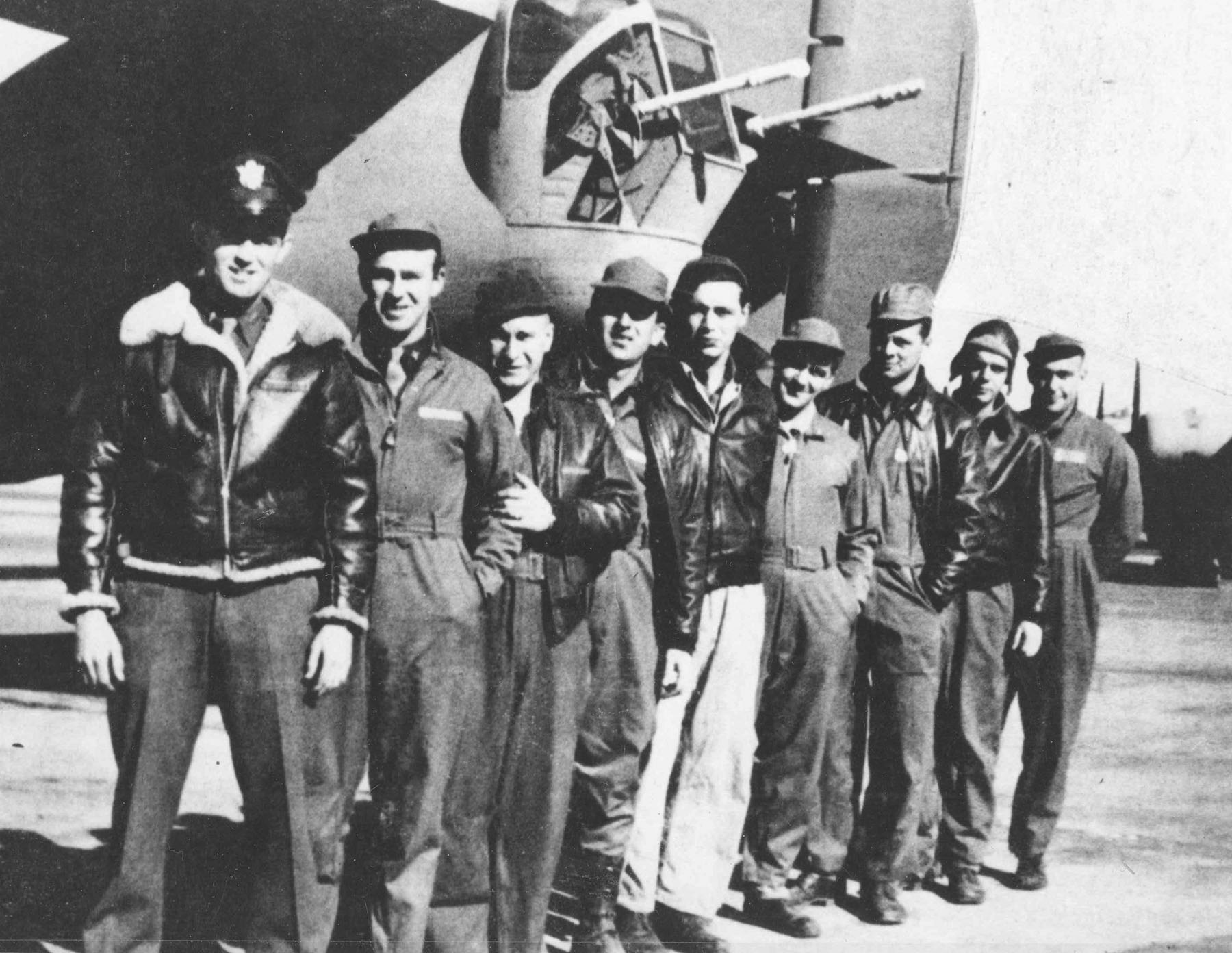 The ill-fated crew of the Lady Be Good, from the left: 1Lt. W.J. Hatton, pilot; 2Lt. R.F. Toner, copilot; 2Lt. D.P. Hays, navigator; 2Lt. J.S. Woravka, bombardier; TSgt. H.J. Ripslinger, engineer; TSgt. R.E. LaMotte, radio operator; SSgt. G.E. Shelly, gunner; SSgt. V.L. Moore, gunner; and SSgt. S.E. Adams, gunner. (U.S. Air Force photo)