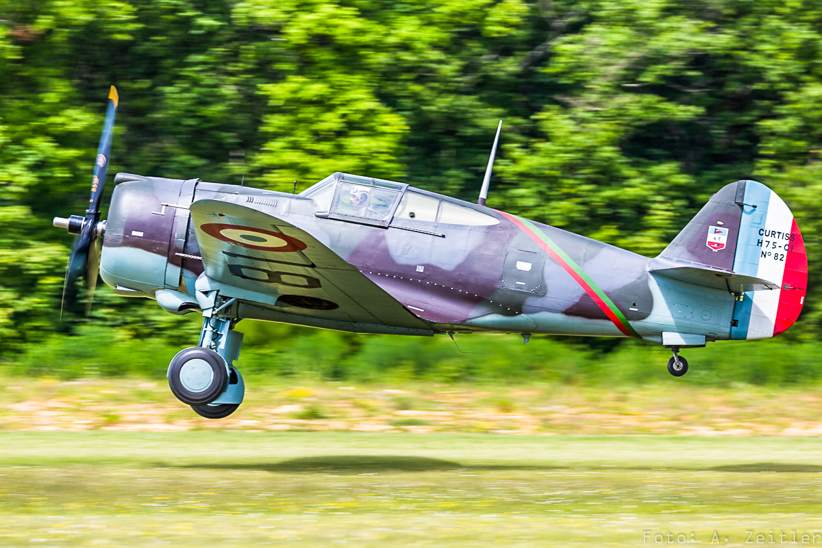 The Fighter Collection's Hawk 75 taking off.
