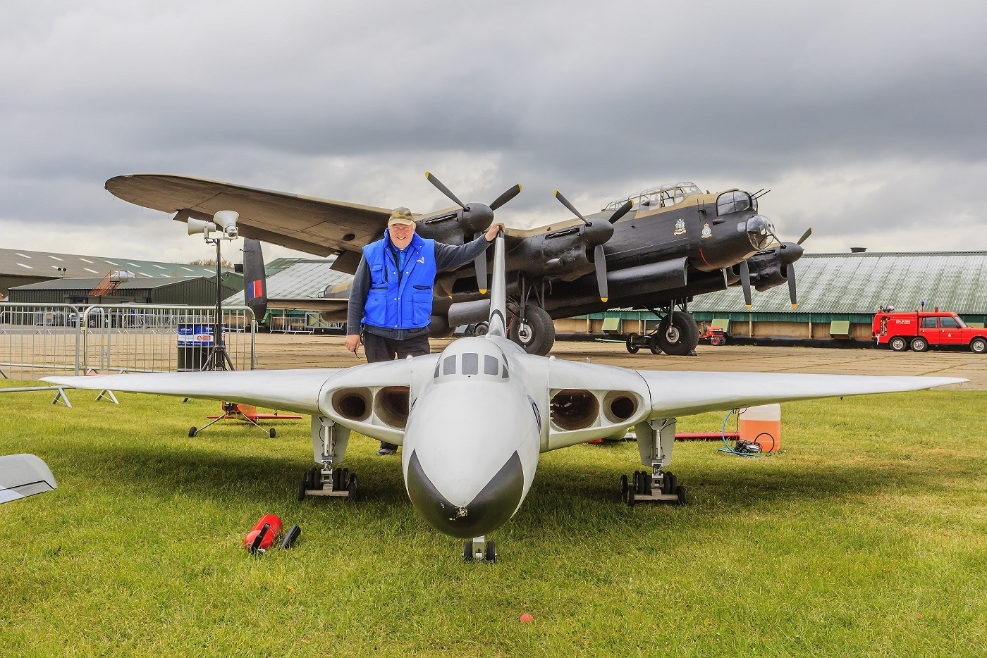 LMA Organizer Dave  Johnson next to a massive model of the  Vulcan Bomber (Image '©Trustees of the Royal Air Force Museum')