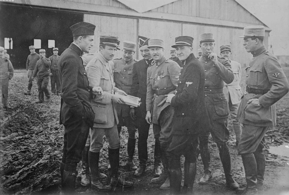 Kiffin Rockwell, Capt. Georges Thenault, Norman Prince, Lt. Alfred de Laage de Meux, Elliot Cowdin, Bert Hall, James McConnell and Victor Chapman (left to right)