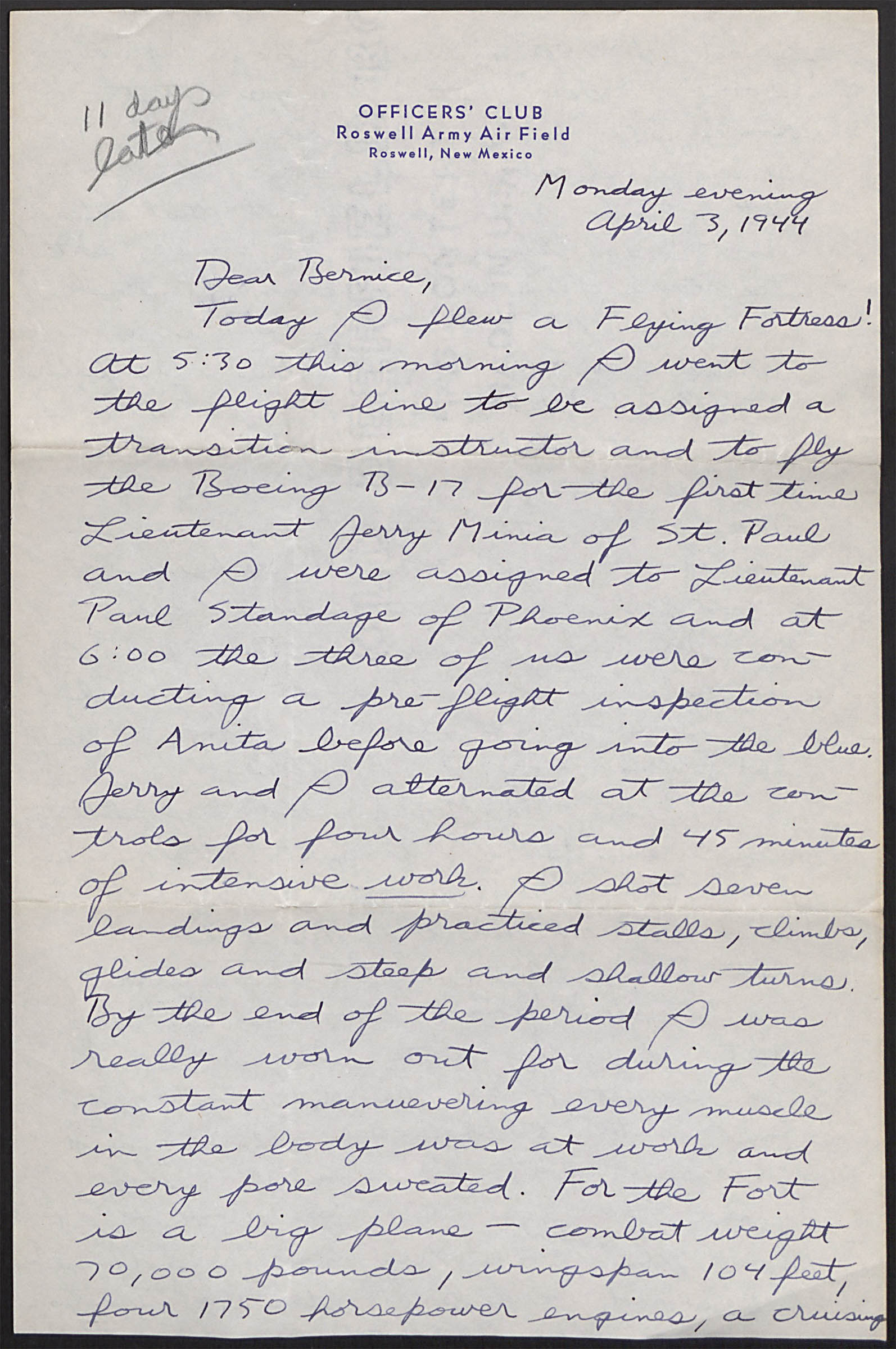 Letter to sister Bernice_April 3_1944_first flight in B-17_Page1