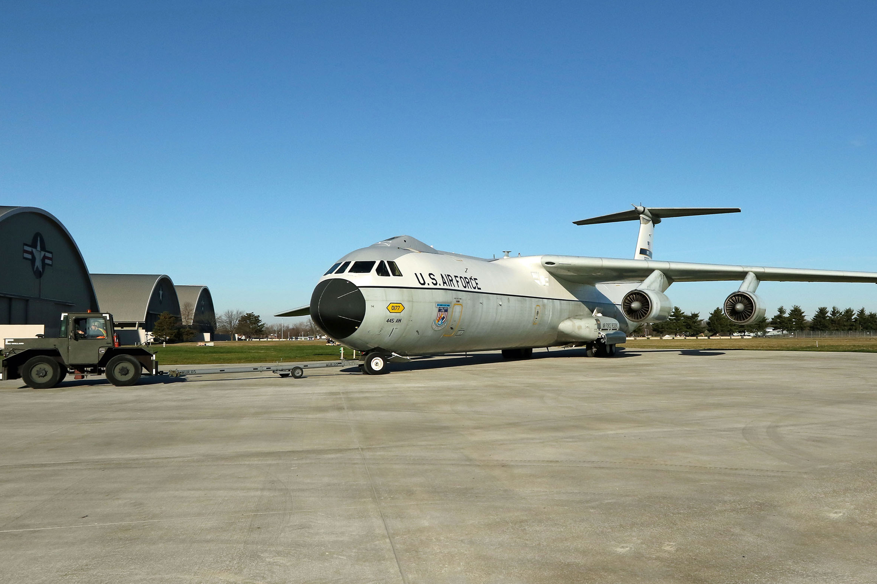 Restoration staff move the Lockheed C-141C Hanoi Taxi into the new fourth building at the National Museum of the U.S. Air Force on Dec. 16, 2015. (U.S. Air Force photo by Don Popp)