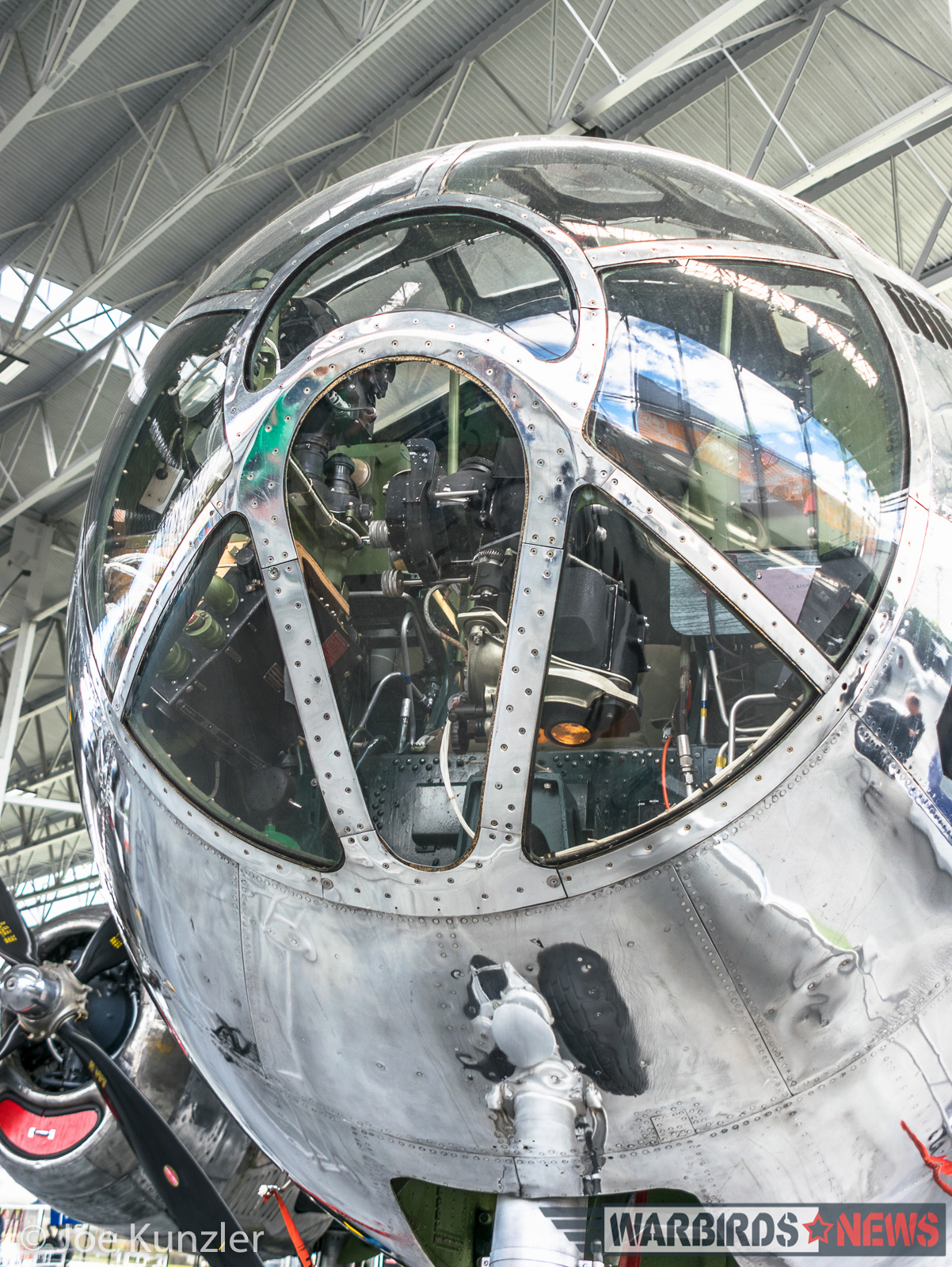 Looking Up the B-29 Nose. (photo by Joe Kunzler)