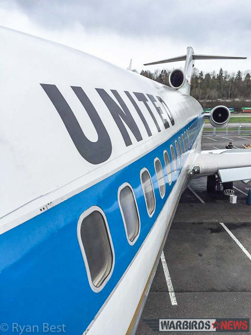 Looking down the 727 fuselage from the gangway at Boeing Field (photo by Ryan Best)