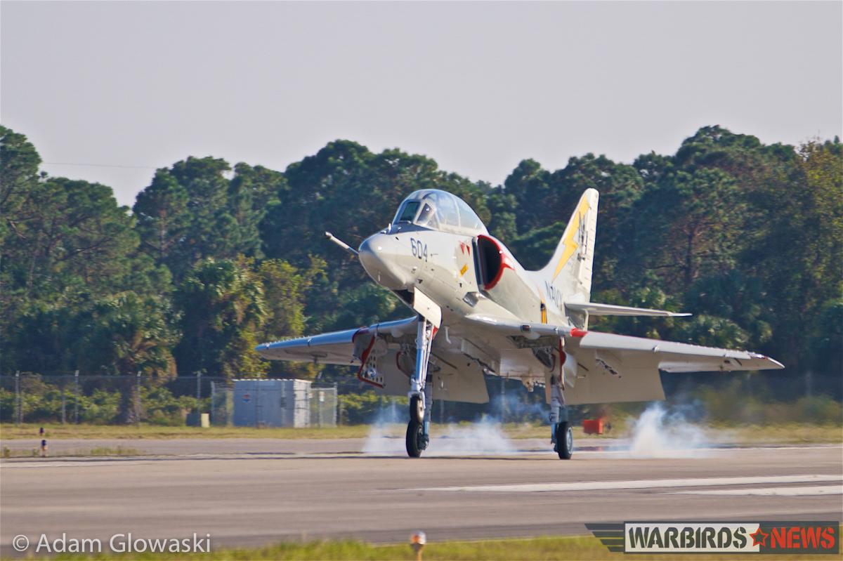 The TA-4J touches down after a successful first flight. (Photo by Adam Glowaski - Box 5 Media)
