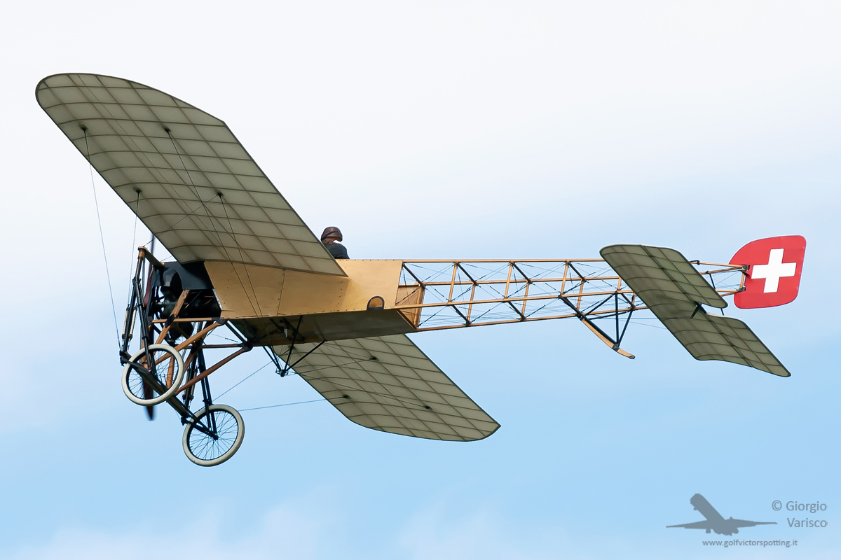 An original Bleriot XI flown by Mikael Carlson. (photo by Giorgio Varisco)