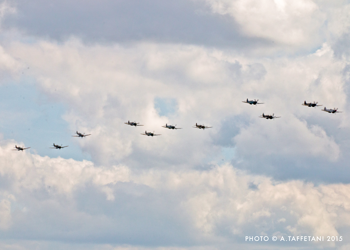 Eleven Spitfires thundered across the Duxford skies in close formation. (photo by Alessandro Taffetani)