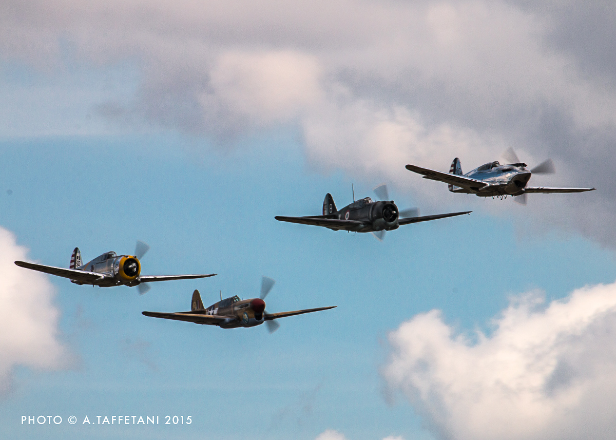 The astonishing sight of a P-36, Hawk 75, P-40C and P-40F has probably never been seen before in history! (photo by Alessandro Taffetani)