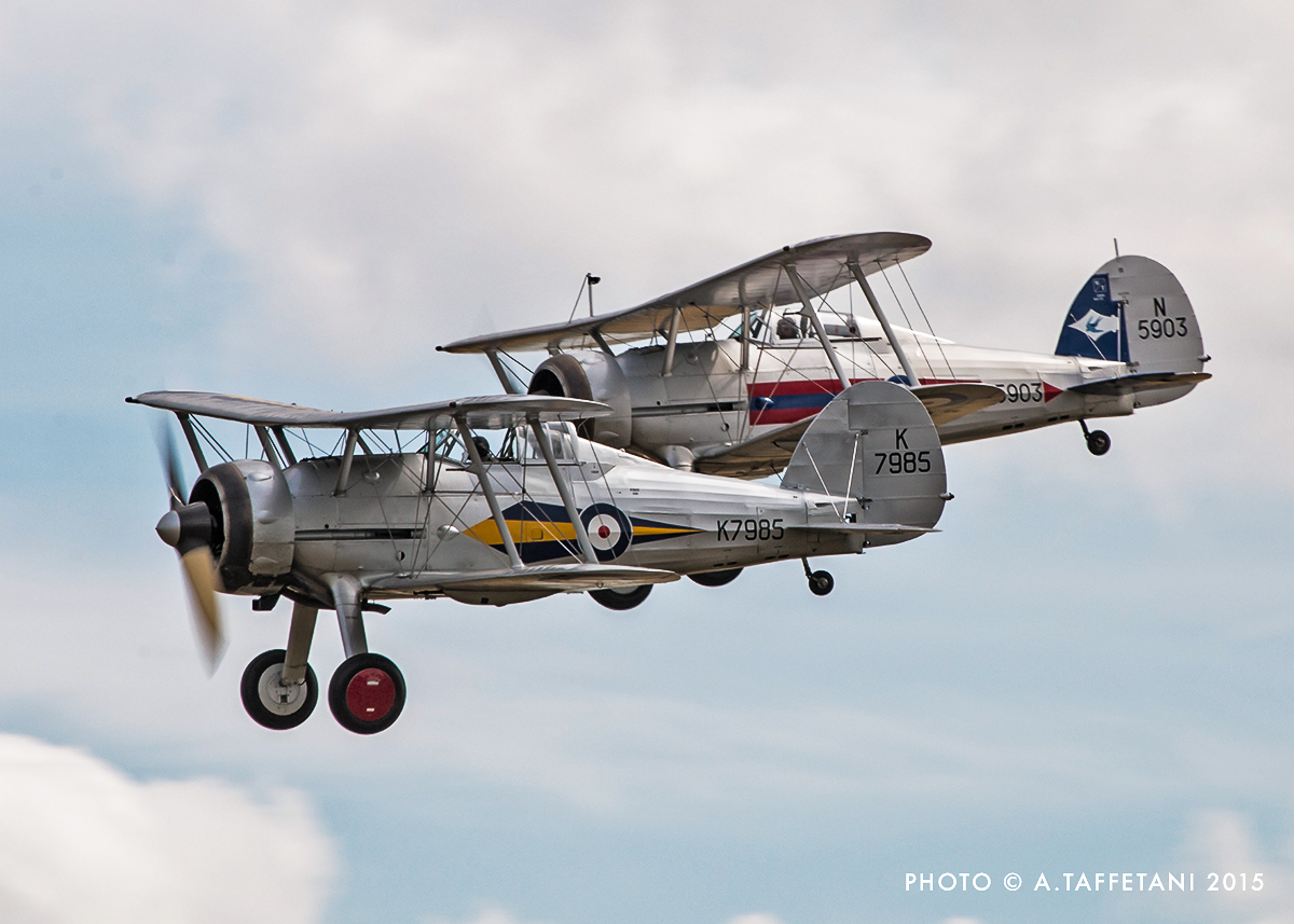 A unique paring of the world's only airworthy Gloster Gladiator fighters. (photo by Alessandro Taffetani)