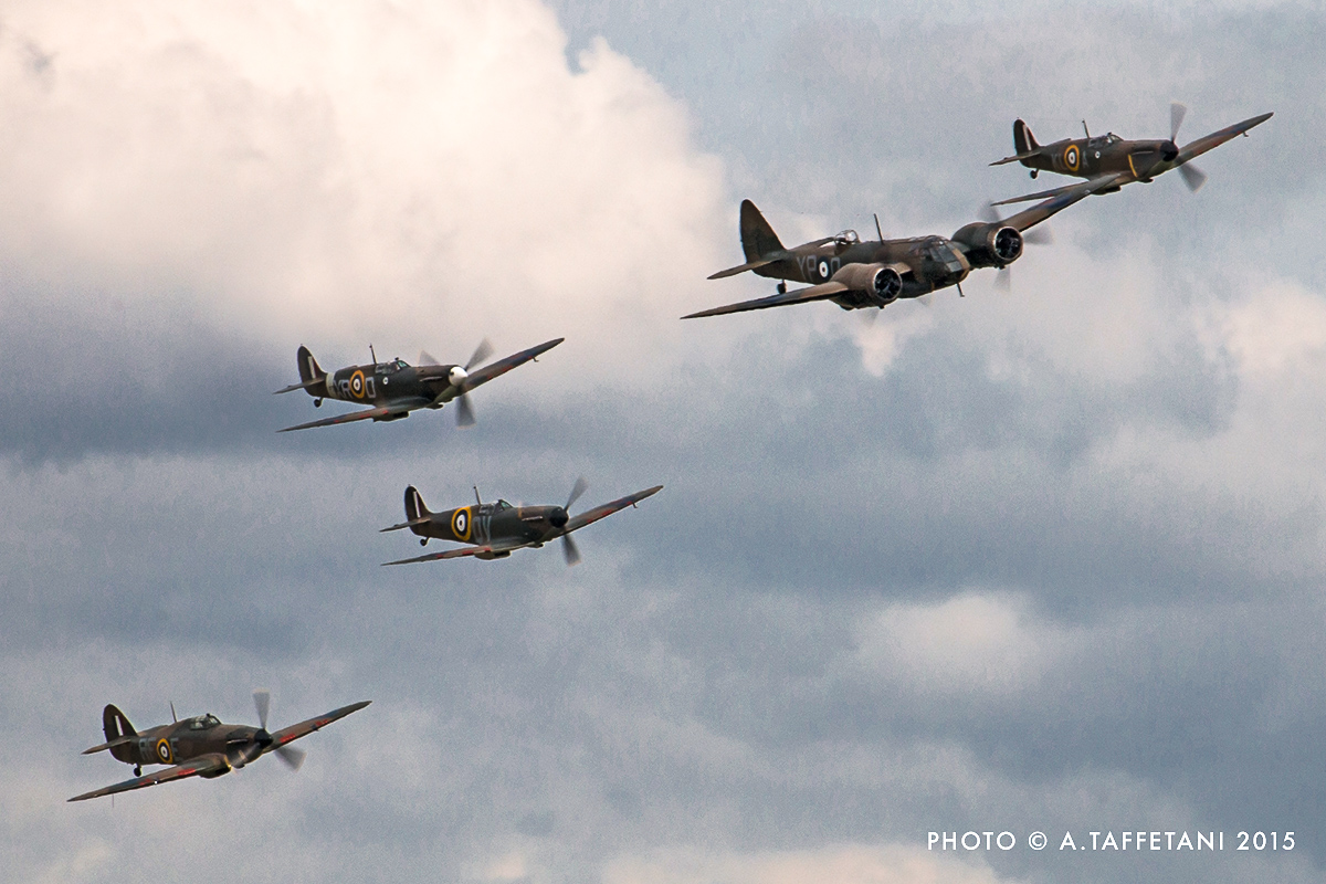Some of the Spitfires also formed up with the Blenheim Mk.I and a Hurricane to make a fascinating formation which probably hasn't occurred since the early days of WWII. (photo by Alessandro Taffetani)