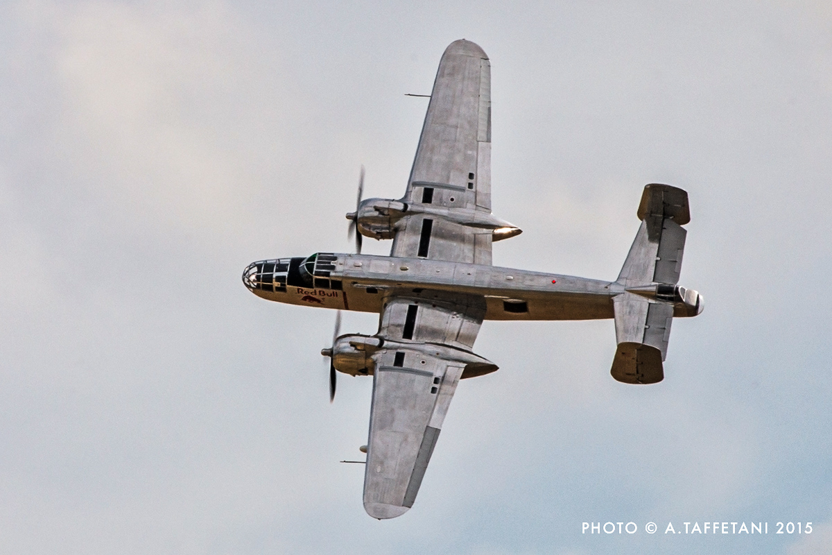 The Red Bull B-25J Mitchell put on a spirited performance! (photo by Alessandro Taffetani)