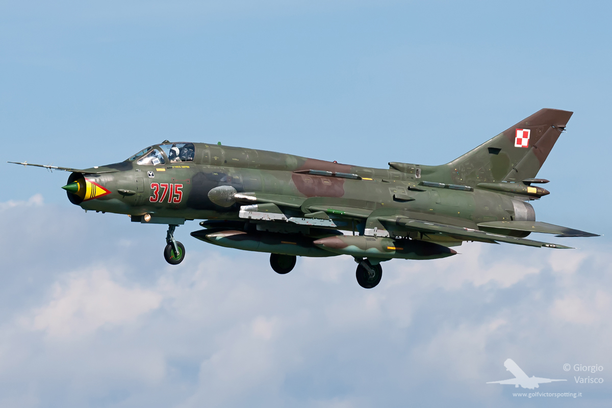 One of a pair of Polish Air Force Su-22 Fitter swing wing attack aircraft which attended the show. (photo by Giorgio Varisco)