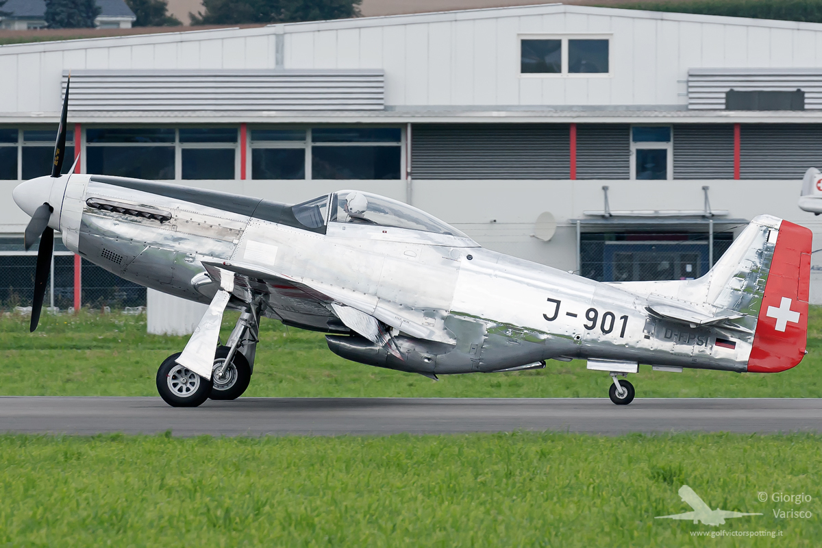 A German-registered P-51D Mustang in Swiss Air Force markings made an appearance at the show. (photo by Giorgio Verasco)