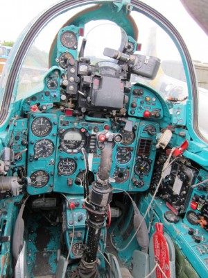 The cockpit of the Mig-21 painted with the typical green/blue color. ( Image Credit Raptor Aviation)