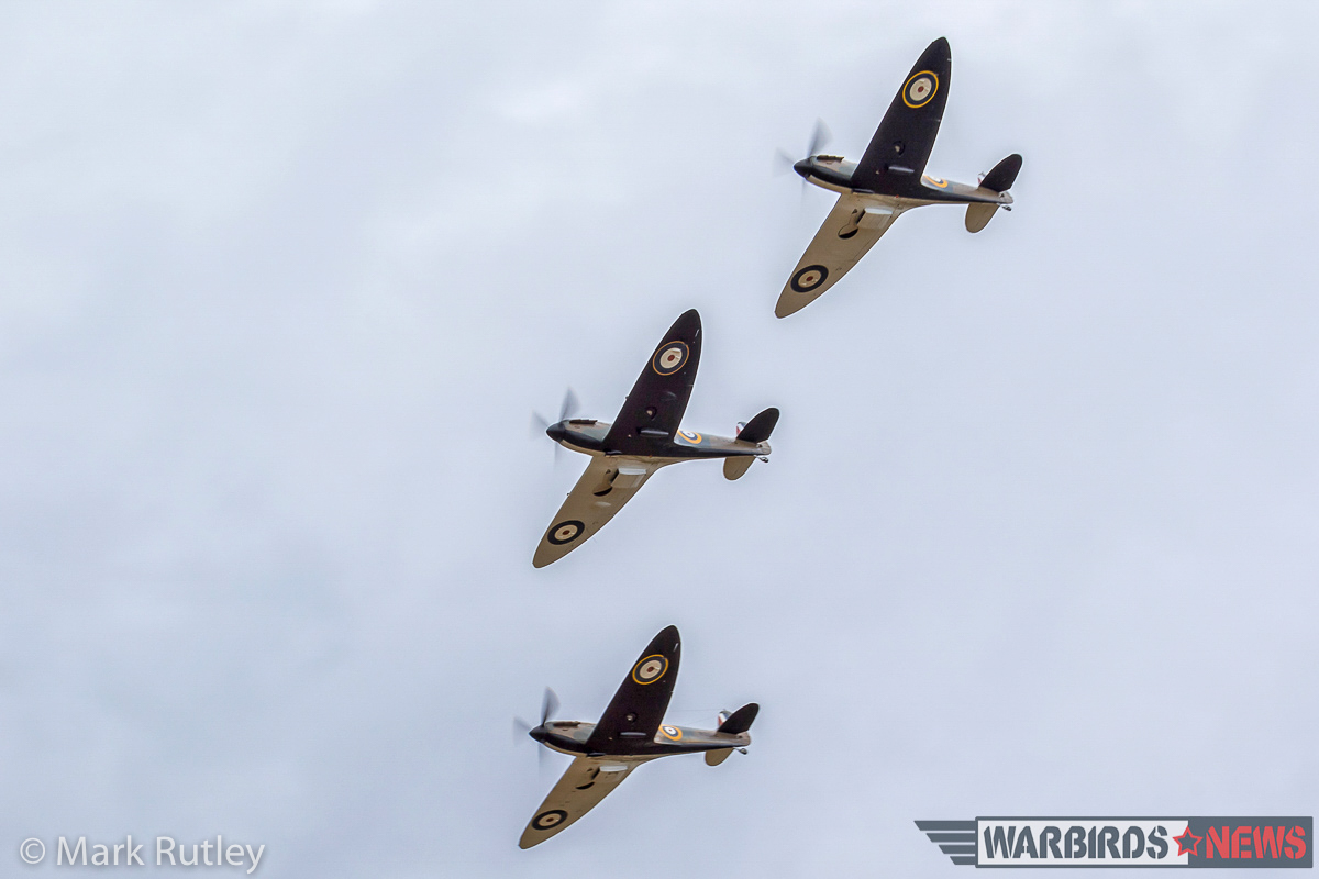 The Spitfires returning from their filming sortie in close formation. Note the unusual half-black, half-white undersides typical of early war RAF fighters. (photo by Mark Rutley)