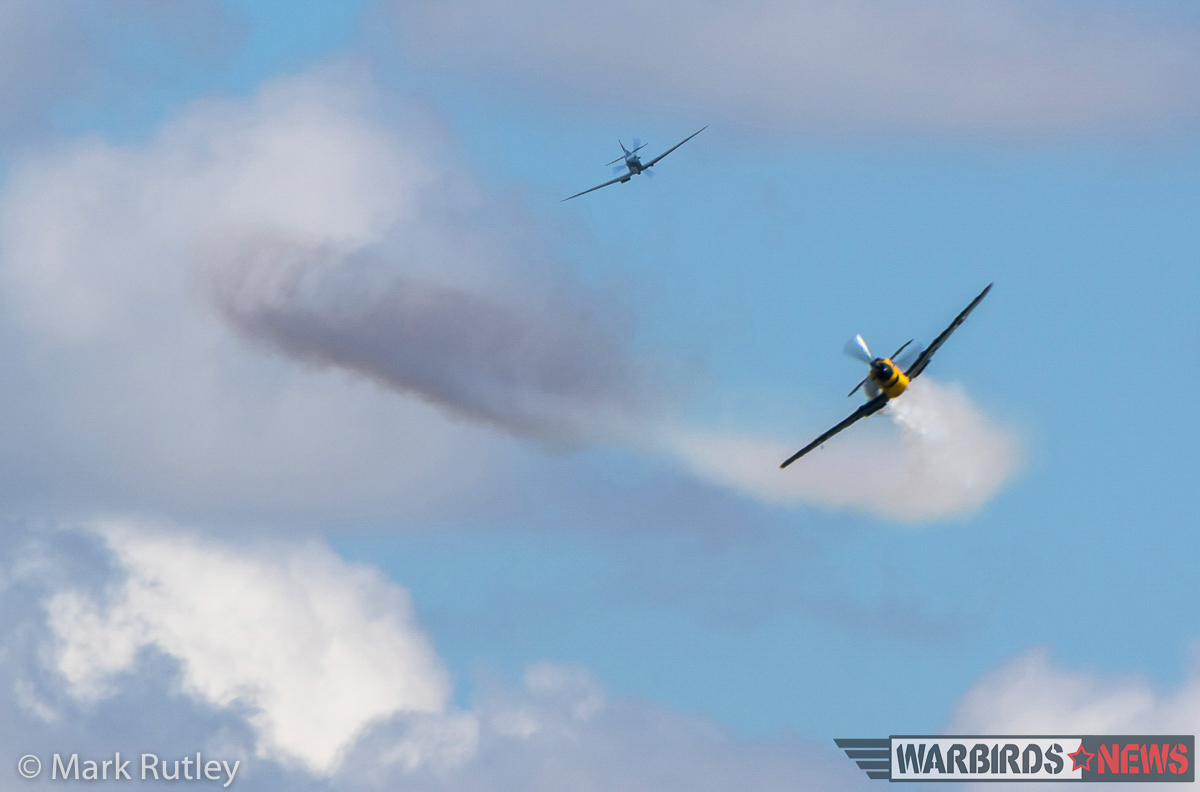 A simulated attack by a Spitfire on the '109'. (photo by Mark Rutley)