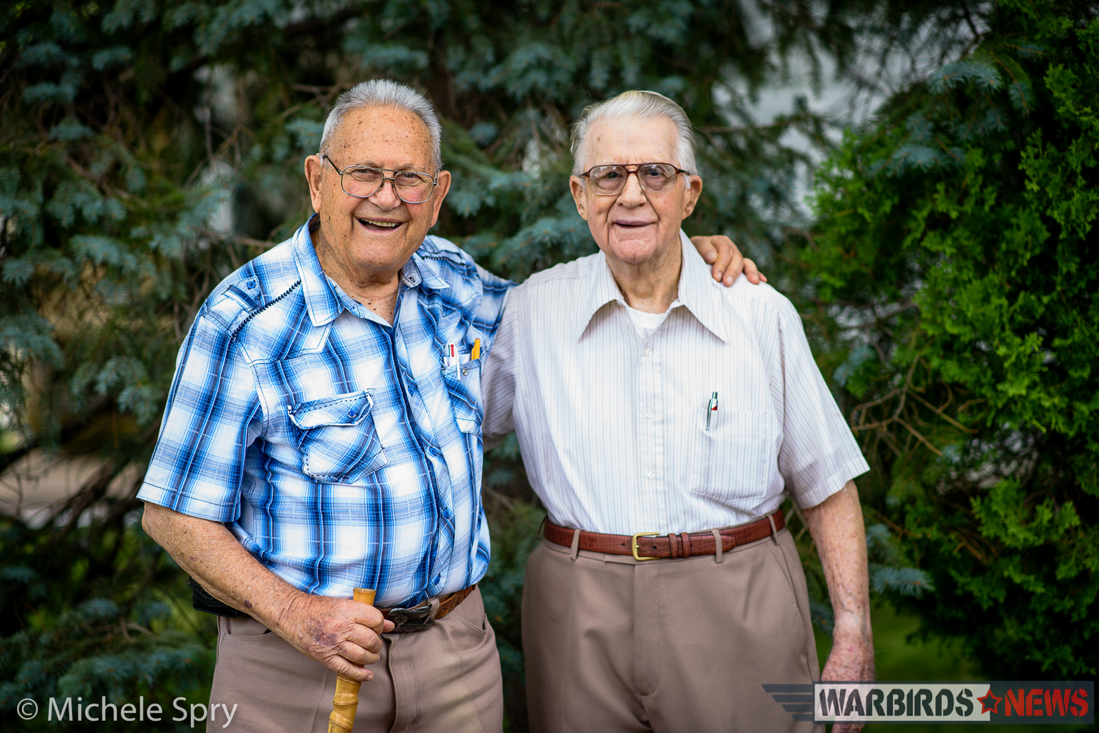 The two men 72 years later. (photo by Michele Spry)