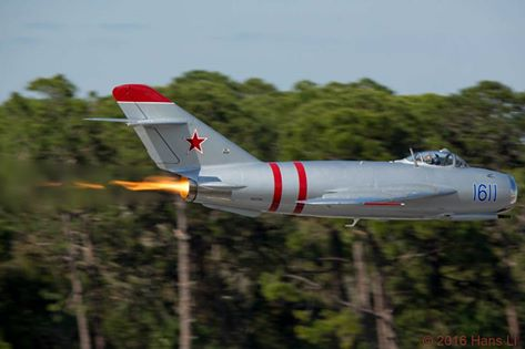A low pass from the MiG-17 with burner lit! (photo via Take to the Skies AirFest)